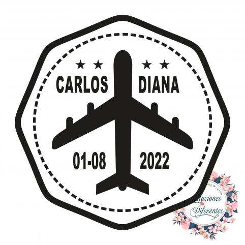 Kundenspezifischer Stempel für Flugzeughochzeit