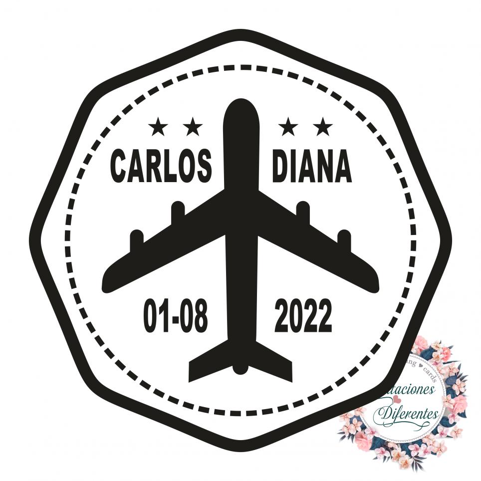 Timbro di gomma personalizzato per matrimonio in aereo