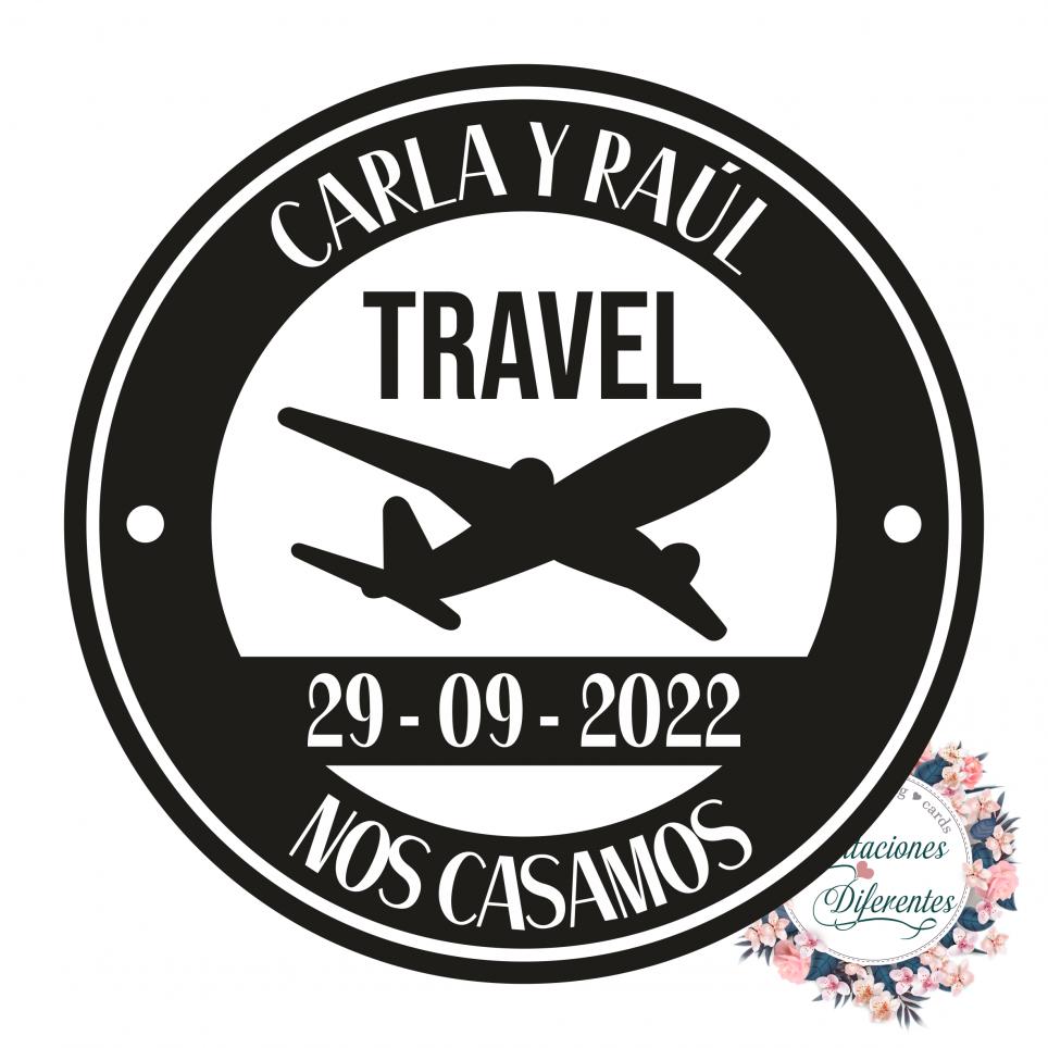 Custom rubber stamp for travel plane wedding