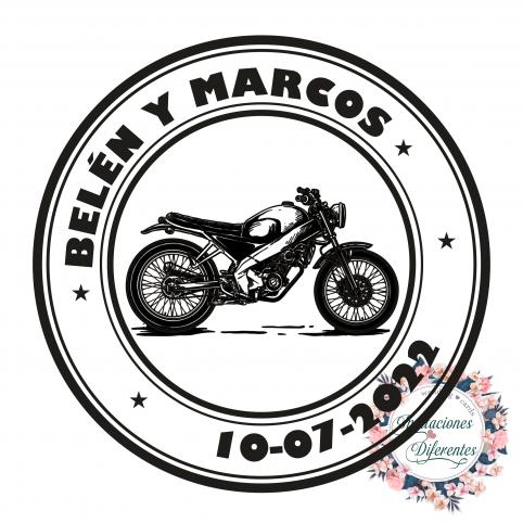 Timbro di gomma personalizzato per matrimoni di motociclisti