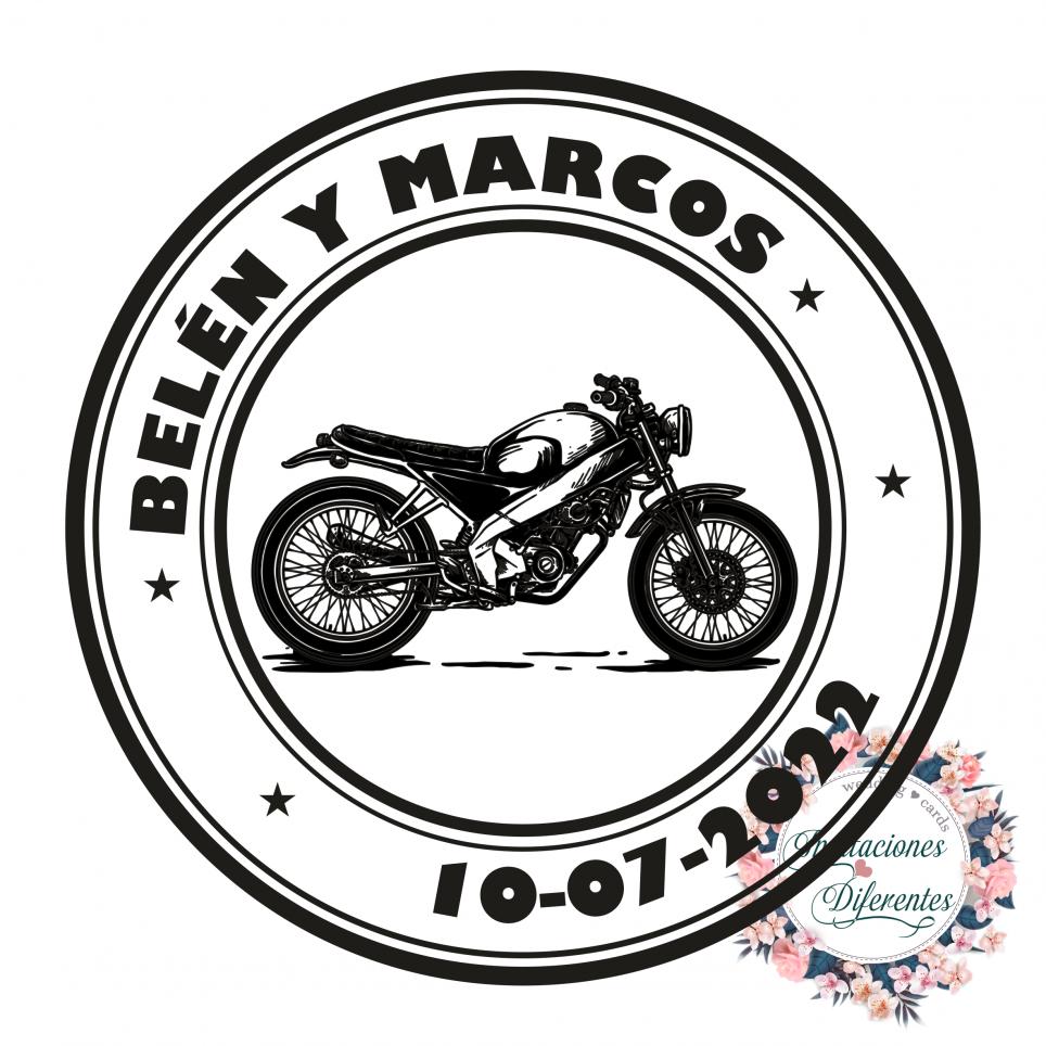 Custom rubber stamp for biker weddings