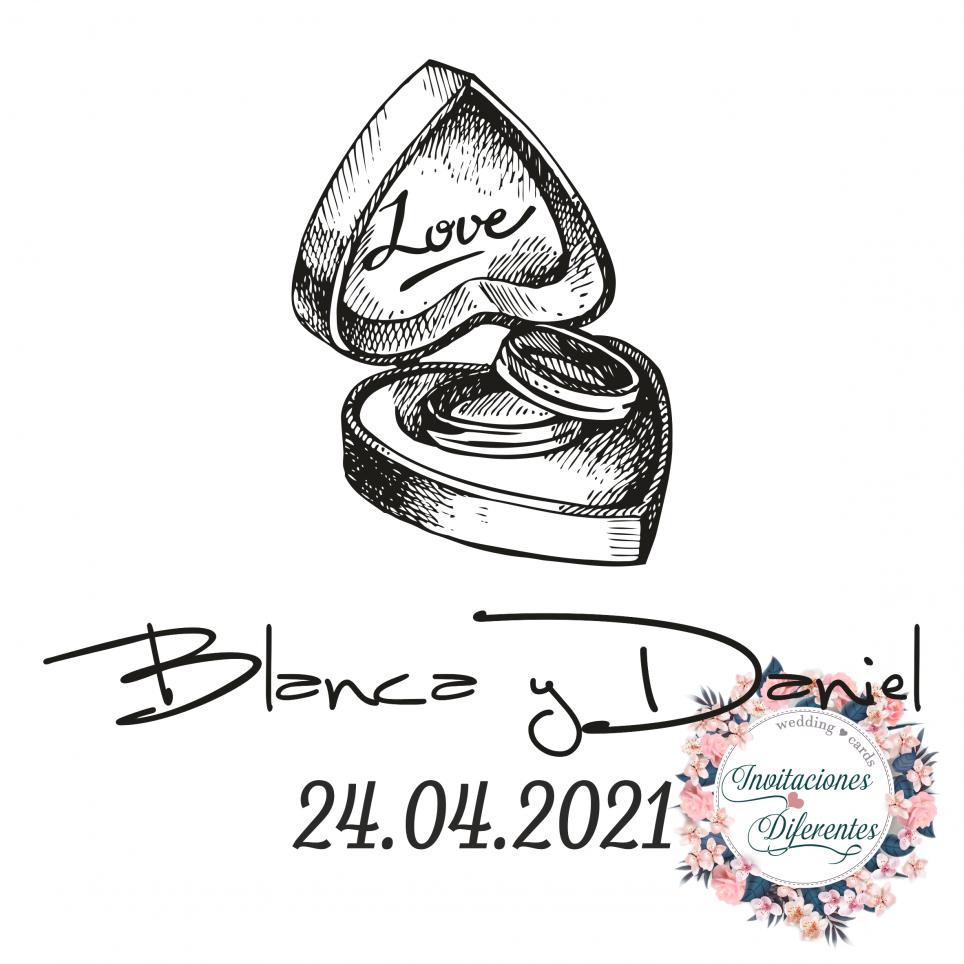 Personalisierter Stempel für Hochzeitsbox und Ringe
