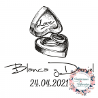 Custom rubber stamp for wedding box and rings