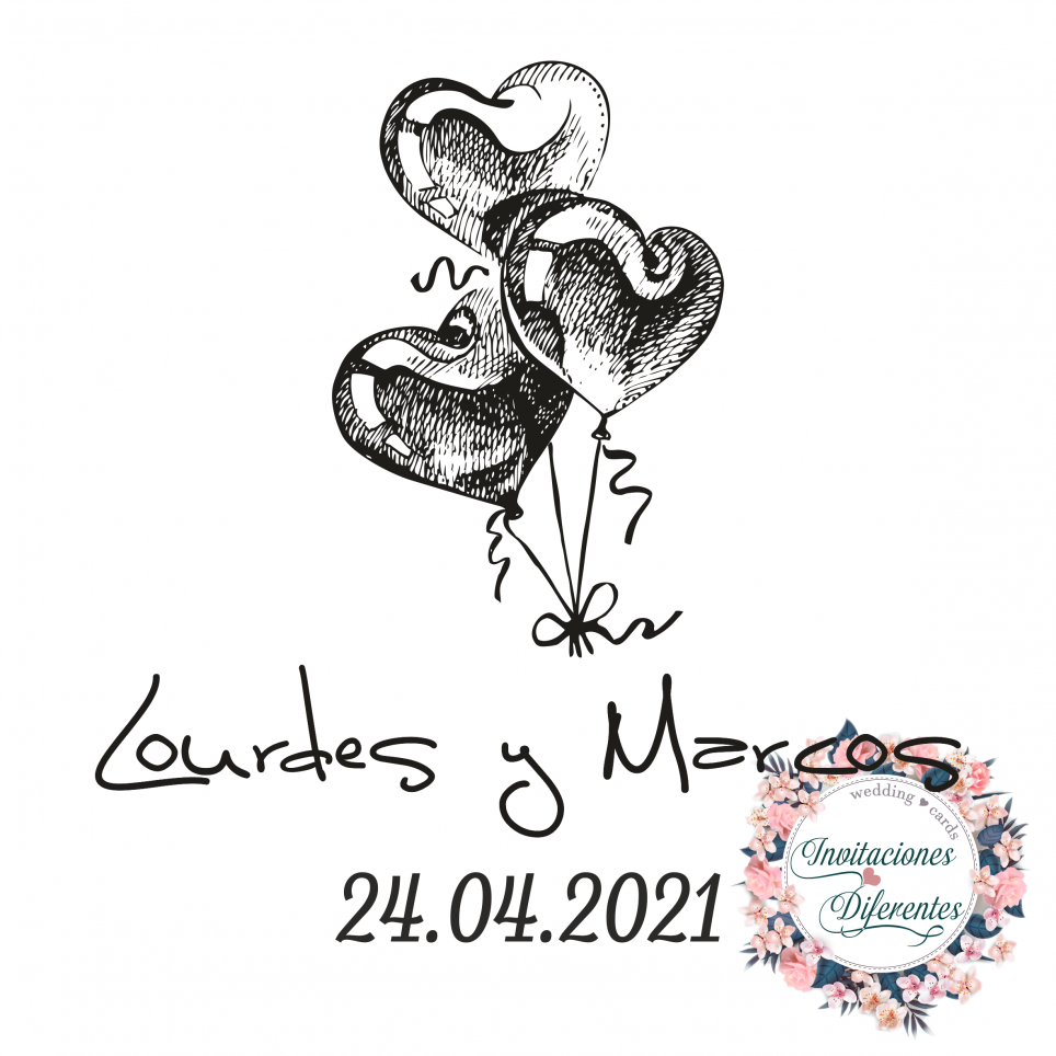 Personalized rubber stamp for wedding balloons with heart