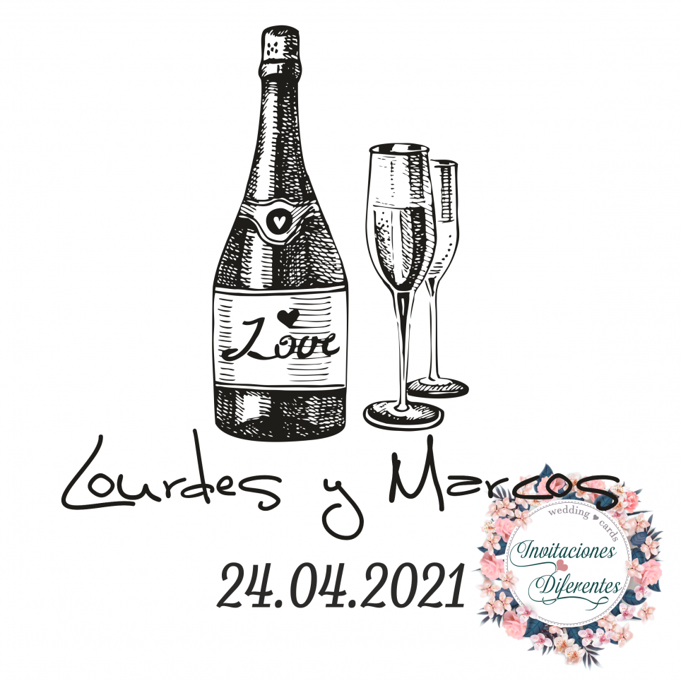 Custom rubber stamp for wedding bottle and cups