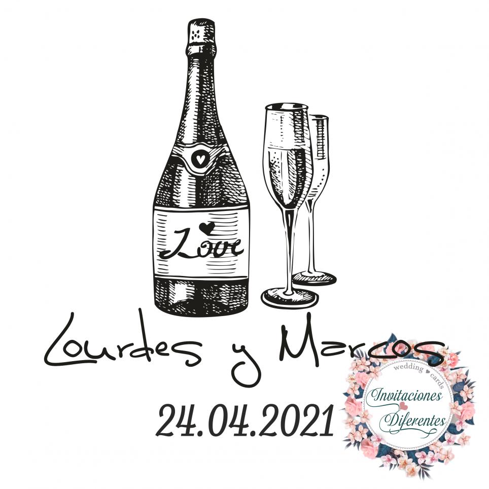 Timbro di gomma personalizzato per bottiglia e bicchieri da matrimonio