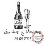 Kundenspezifischer Stempel für Hochzeitsflasche und Gläser