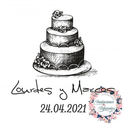 Carimbo de borracha de casamento de bolo personalizado