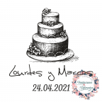 Custom rubber stamp for weddings with cake
