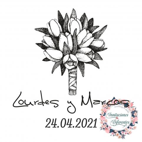 Carimbo de borracha personalizado para buquê de flores de casamento