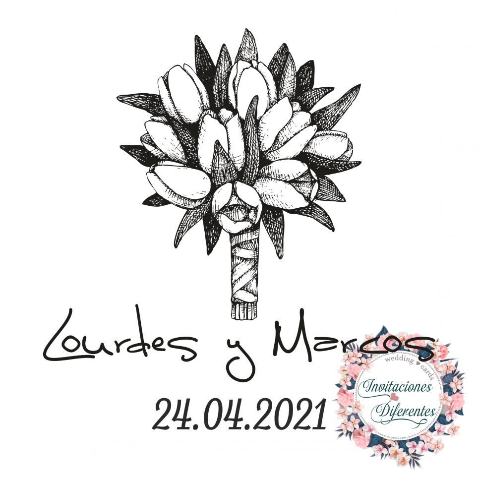 Timbro di gomma personalizzato per bouquet di fiori da sposa