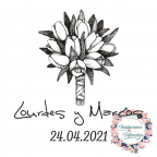 Custom rubber stamp for wedding bouquet of flowers
