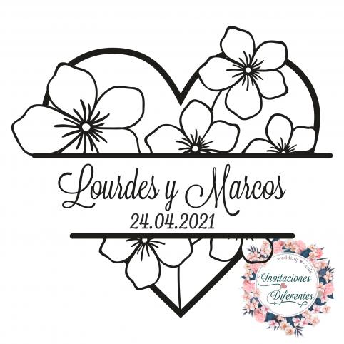 Coeur de tampon en caoutchouc de mariage personnalisé avec des fleurs