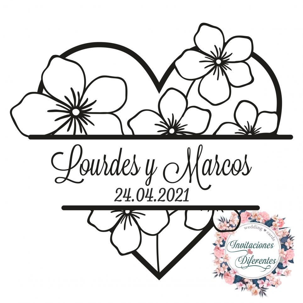 Cuore di timbro di gomma matrimonio personalizzato con fiori