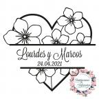 Personalisierte Hochzeit Stempel Herz mit Blumen
