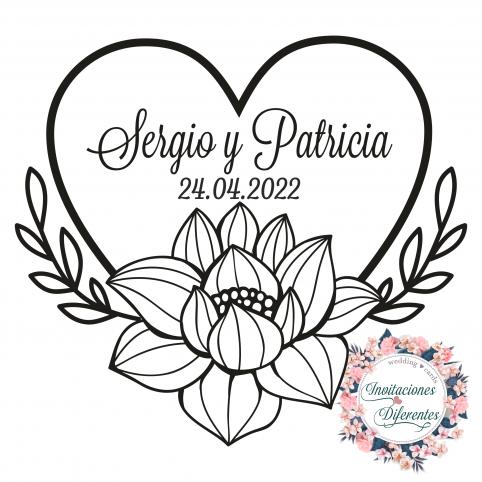 Carimbo de borracha personalizado para casamento com coração florido