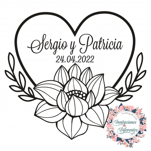Custom rubber stamp for flowery heart weddings