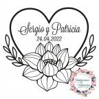 Timbro di gomma personalizzato per cuore fiorito di nozze