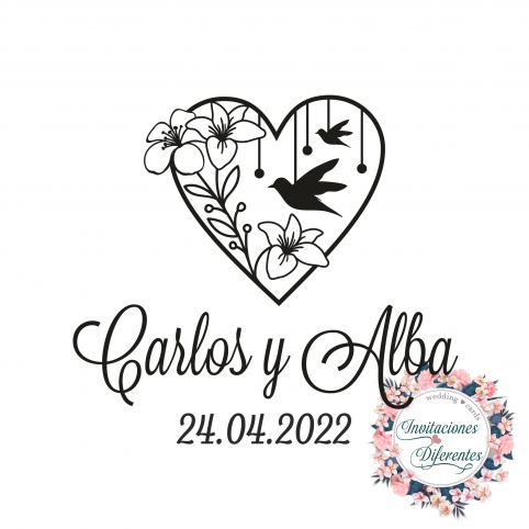 Custom rubber stamp for heart and bird weddings