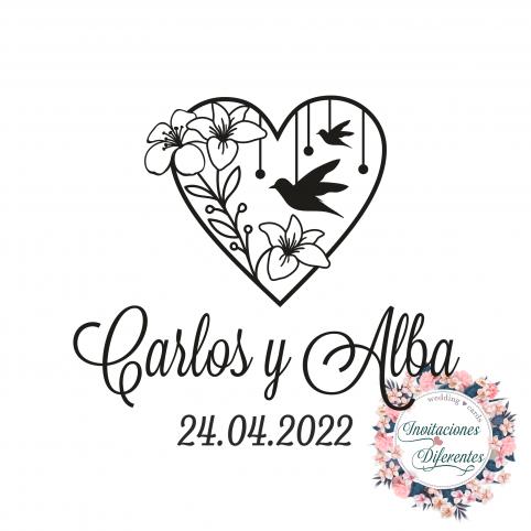 Personalisierter Stempel für Hochzeiten Herz und Vögel