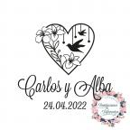 Timbro di gomma personalizzato per matrimoni cuore e uccelli