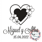 Timbro di gomma personalizzato per matrimonio a doppio cuore