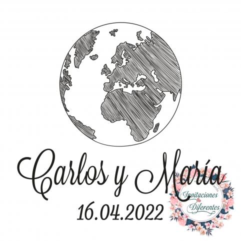 Sello de caucho personalizado para boda Bola del Mundo