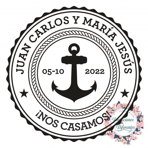 Sello de caucho personalizado para boda marinero