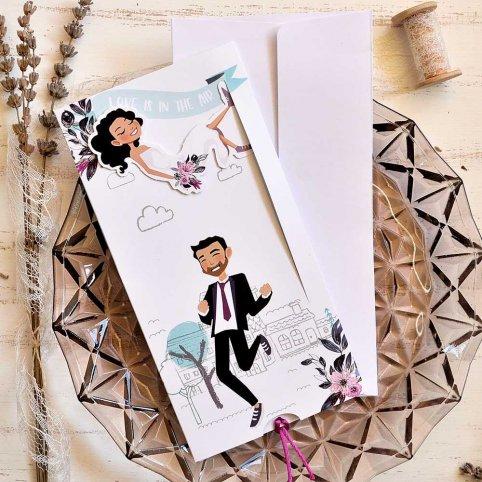 """Hochzeitseinladung """"Liebe liegt in der Luft"""", Cardnovel 39816"""