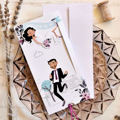 """Wedding invitation """"Love is in the air"""", Cardnovel 39816"""