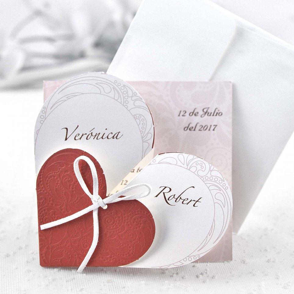 Invitación de boda corazón desplegable Cardnovel 32826