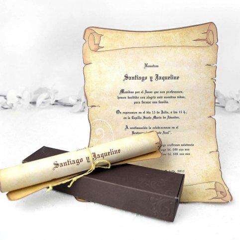 Invitación de boda pergamino con lazo Cardnovel 32830