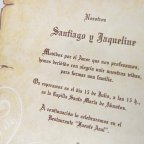 Wedding invitation parchment with bow Cardnovel 32830 text