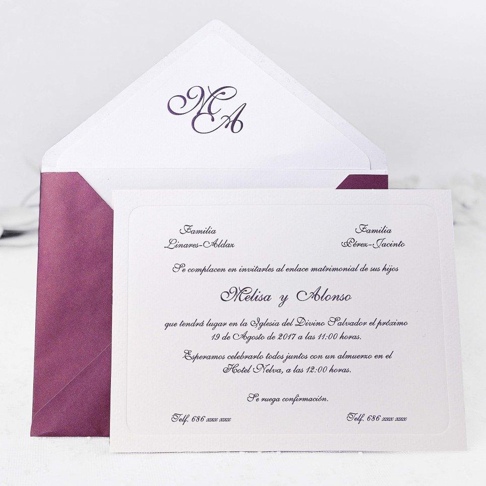 Invitación de boda clásica granate Cardnovel 32834