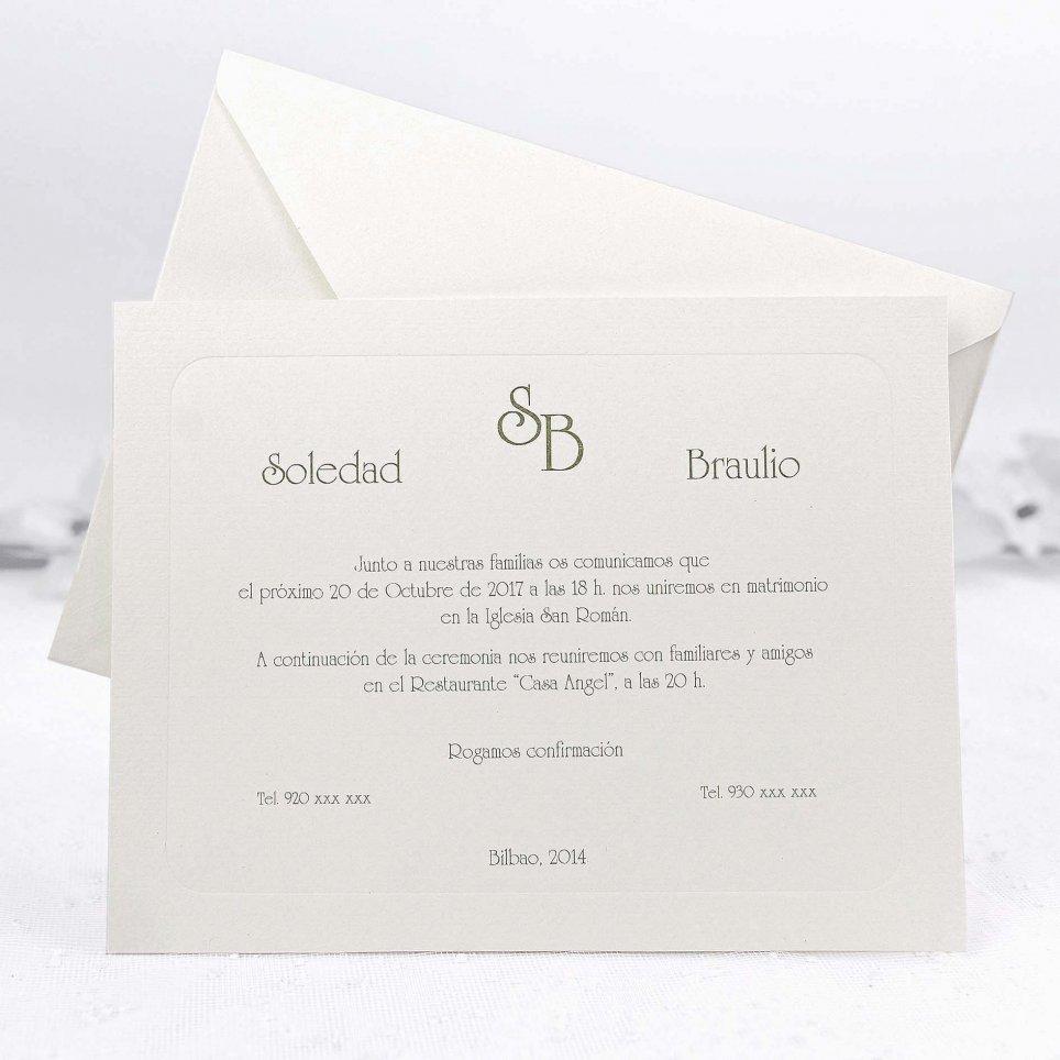 Klassische Vanille Hochzeitseinladung Cardnovel 32837