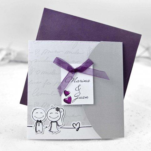 Invitation de mariage mariée et le marié Cardnovel 35641