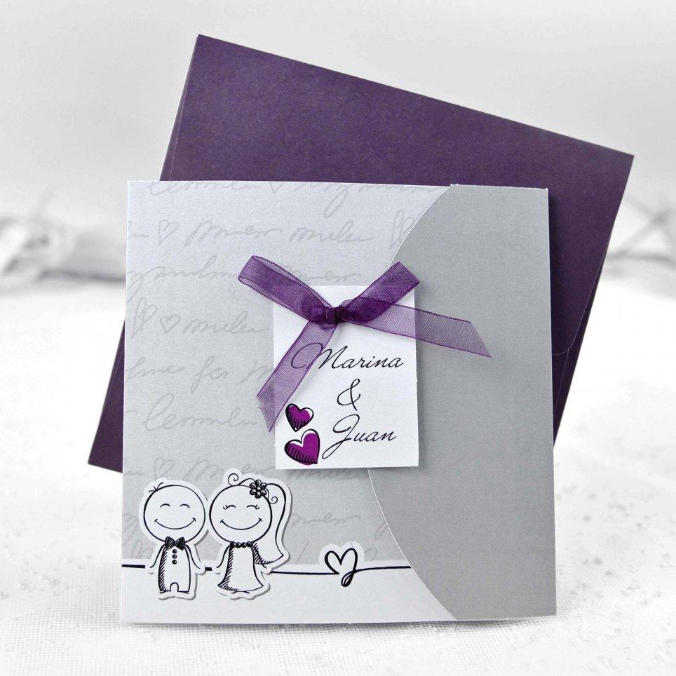 Invitación de boda novios de la mano Cardnovel 35641