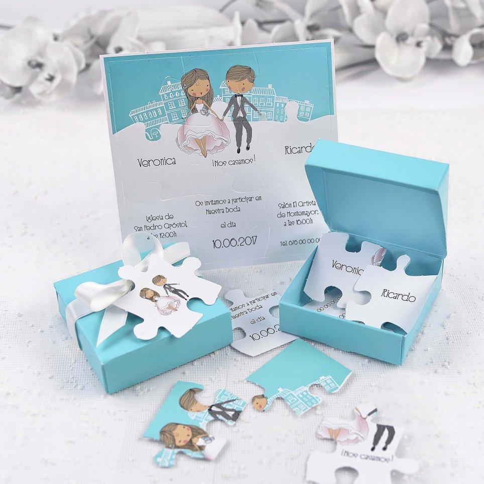 Invitación de boda caja y puzzle Cardnovel 39125