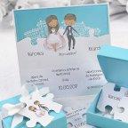 Invitación de boda caja y puzzle Cardnovel 39125 detalle