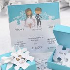 Wedding Invitation Box and Puzzle Cardnovel 39125 Detail