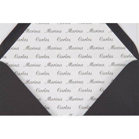 Stampa dei nomi sul rivestimento della busta Edima