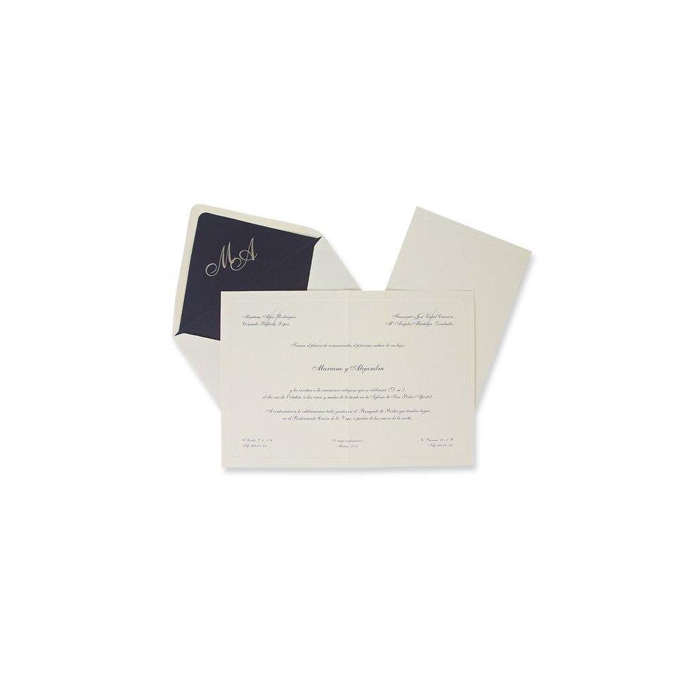 Invitación de boda clásica azul Edima 100.326