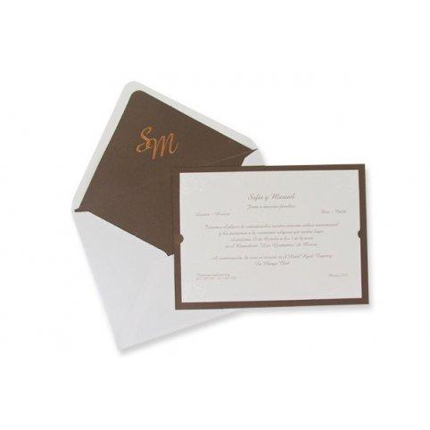 Partecipazione matrimonio classico bronzo Edima 100.320