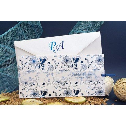 Invitación de boda flores en azul, Edima 100.665