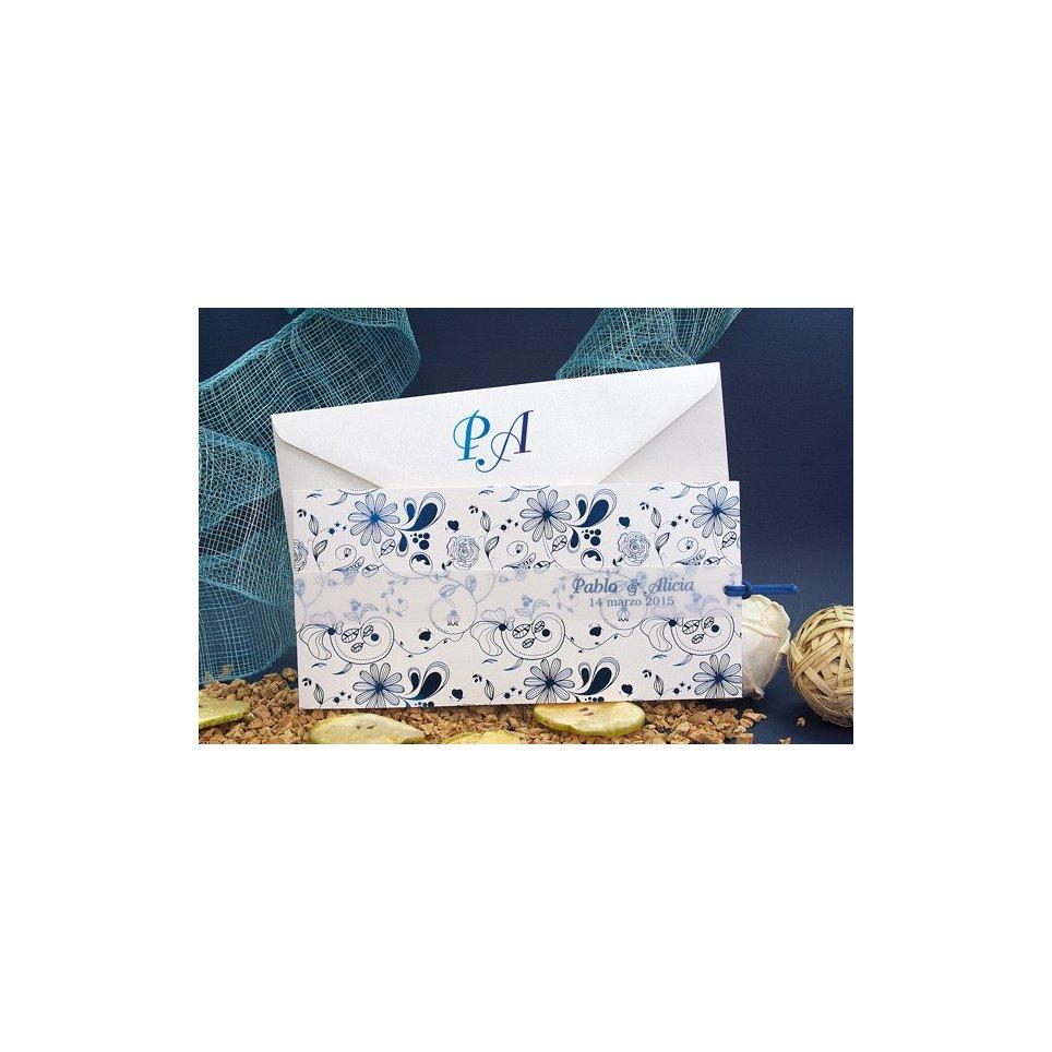Invito a nozze fiori in blu, Edima 100.665
