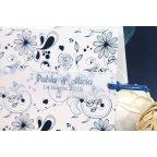 Hochzeitseinladungsblumen in Blau, Edima 100.665 Namen