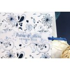 Invito a nozze fiori in blu, Edima 100.665 nomi