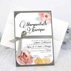 Invitación de boda rosas y lazo, Cardnovel 32627
