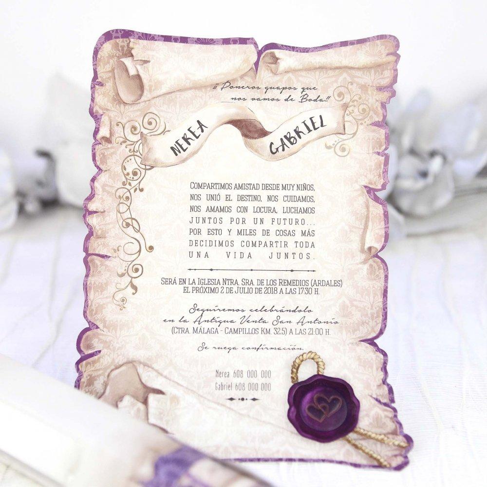 Invitación De Boda Papiro Morado Con Caja De Cartulina