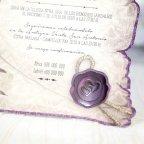 Invitación de boda papiro morado, Cardnovel 39215 lacre